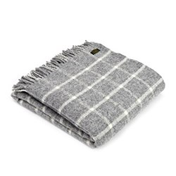 Chequered Check Throw, 150 x 183cm, grey