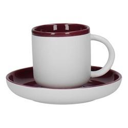 Barcelona Coffee cup and saucer, 300ml, plum