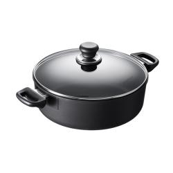 Classic induction Low sauce pot with lid, 26cm - 4.8 Litre, black