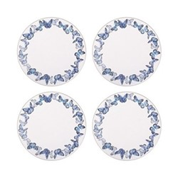 Azure Set of 4 round tablemats, 25cm, blue/white