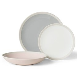 Naya 12 piece dinner set, pale grey/white/pink