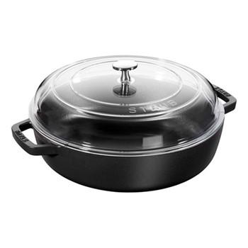 Saute pan with glass lid, 28cm, black