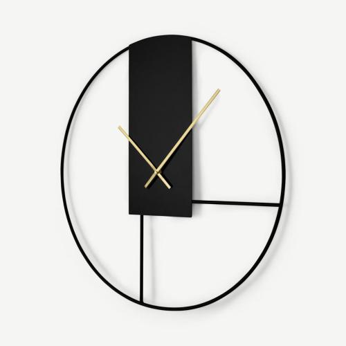 Outline Wall clock, Dia60cm, Matt Black & Brushed Brass