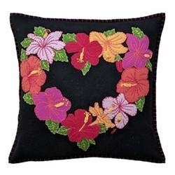 Tropical Hibiscus Cushion, 46 x 46cm, black