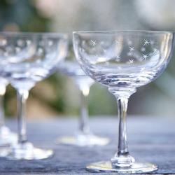 Stars Set of 6 champagne glasses, 150ml, Crystal