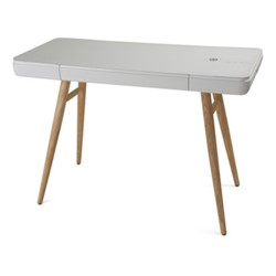 Bodie Smart charging desk, H76 x W109.5 x D49.5cm, wood and white