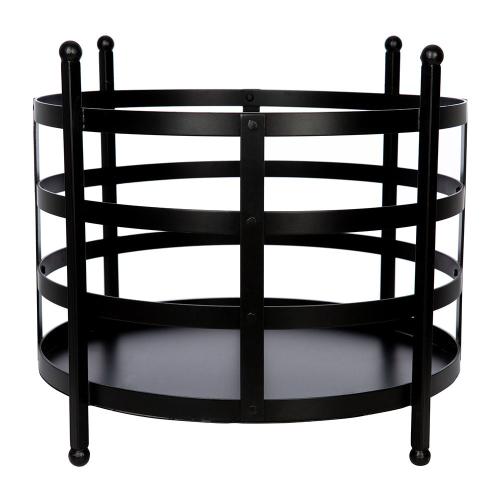 Black Iron Log basket, H36 x D45cm