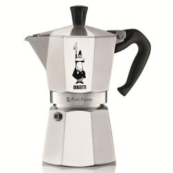 Moka Express Aluminium stovetop coffee maker, 6 cup, Silver