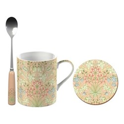 William Morris Mug, coaster and spoon gift set, H11 x W17 x L13cm, pink