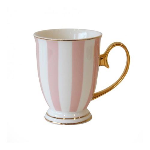 Stripy Mug, H11 x Dia8.5cm, Pink/White