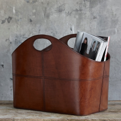 Curved magazine basket, H30 x W40 x D21cm, Tan Leather