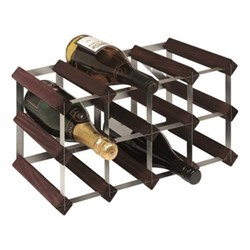 12 bottle wine rack, H24 x W43 x D23cm, dark/galvanised steel