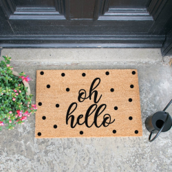 Oh Hello Doormat, L60 x W40 x H1.5cm, Black