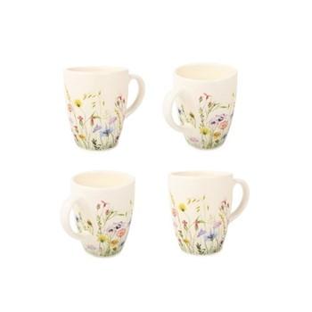 Fleur des Pres Set of 4 mugs, W12 x H10cm - 30cl, cream