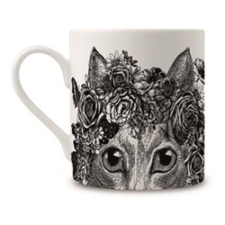 Flower Cat Mug, H9 x Dia 8cm, black/white