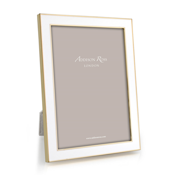"Enamel Range Photograph frame, 4 x 6"" with 15mm border, white with gold plate"