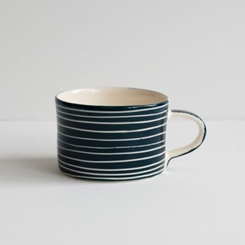 Sgrafitto Stripe Set of 6 mugs, H7 x W10.5cm, graphite