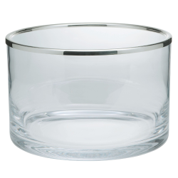 Cercle Bowl, 21cm, straight sided glass with silver rim