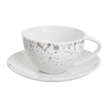 Quartz Teacup and saucer, H9 x W18 x L18cm, white and silver
