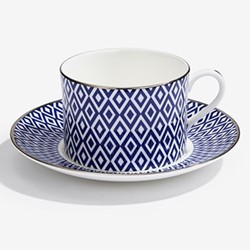 Aragon Teacup & saucer, midnight blue & white