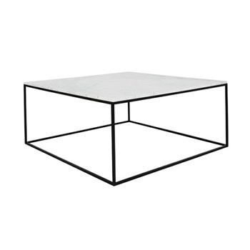 Nestor Square marble coffee table, W75 x H32 x D75cm, white
