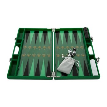 Leaf Backgammon set, L35.3 x W21.4 x H4.7cm, green and gold