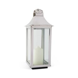 Tonto Lantern, 50 x 19 x 18cm, Glass And Nickel Plate