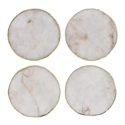 Agate Set of 4 coasters, D10cm, white
