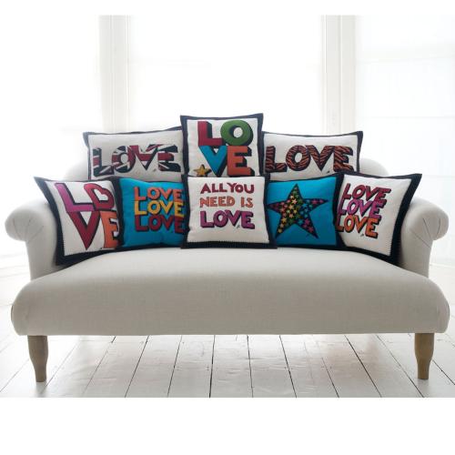 Love, Love, Love Cushion, 46 x 46cm, Cream