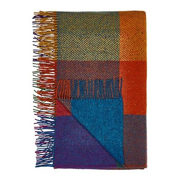 Donegal Circus Heavy herringbone wool throw, L183 x W142cm, circus
