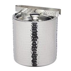 Bar Craft Ice bucket with lid and tongs, 1.5 litre, hammered metal