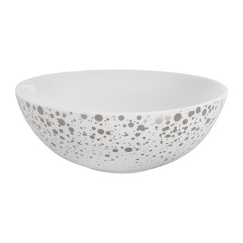 Quartz Bowl, H6 x W17 x L17cm, white and silver