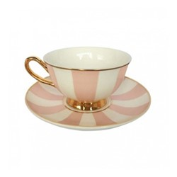 Stripy Set of 4 teacups and saucers, H6x Dia15cm, pink/white