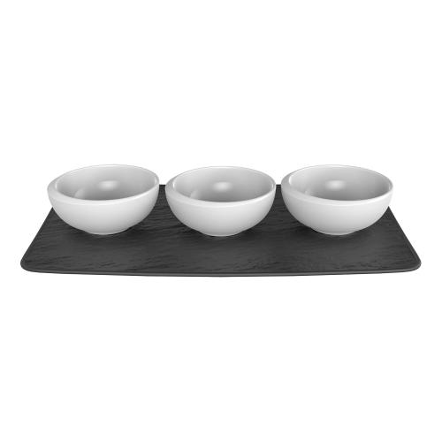 NewMoon Set of 3 small dip bowls, White/Slate