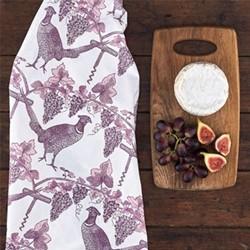 Pheasant & Vine Tea towel, 50 x 70cm, white/soft pink/dusty purple