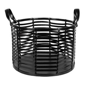 Slotted leather basket, H27 x W40 x L40cm, black