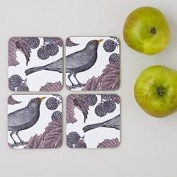 Blackbird & Bramble Set of 4 coasters, 10 x 10cm, white/purple/pink