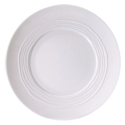 Onde White Set of 6 dinner plates, 27.5cm