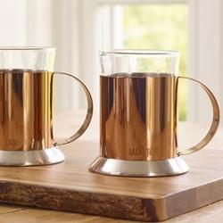 Origins Pair of glass cups, H13.5 x W16.5 x L16.5cm, copper