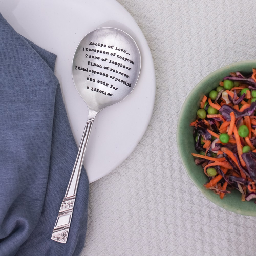Recipe Of Love Serving spoon, 21cm, Silver Plated
