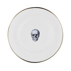 Skull Dinner plate, 27cm, crisp white/burnished gold edge