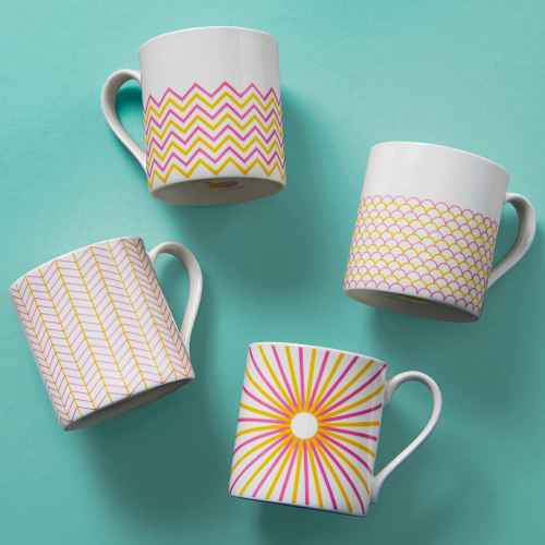 Wave Mug, H9cm - 37.5cl, Pink/Yellow