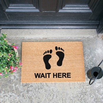 Wait Here Doormat , L60 x W40 x H1.5cm