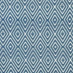 Diamond Polypropylene indoor/outdoor rug, W76 x L244cm, denim/white