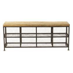 Hasa Industrial shoe storage bench, 49 x 120 x 30cm, Iron & Mango Wood