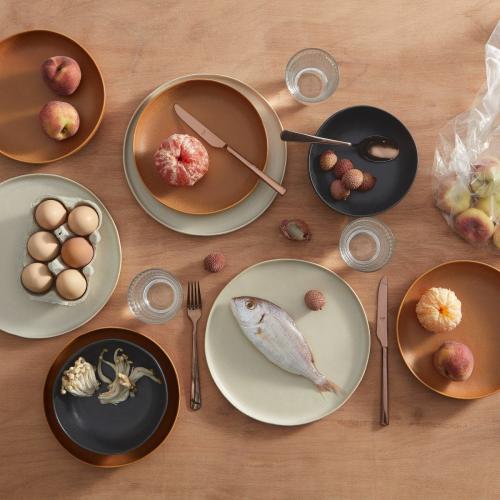 Ingram 12 piece dinnerware set, Ivory, Charcoal And Terracotta