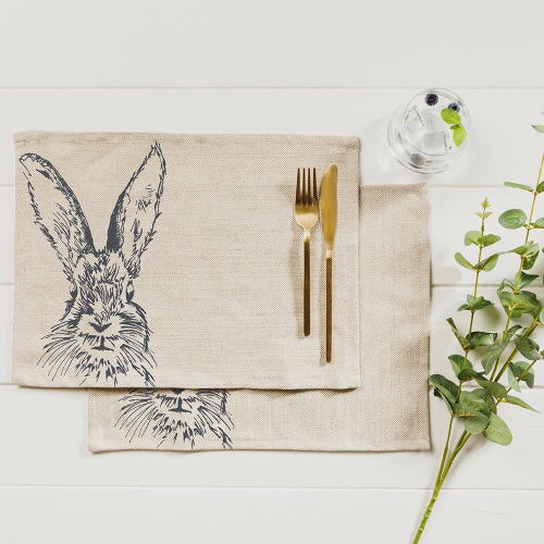 Hare Set of 2 placemats, 40 x 30cm