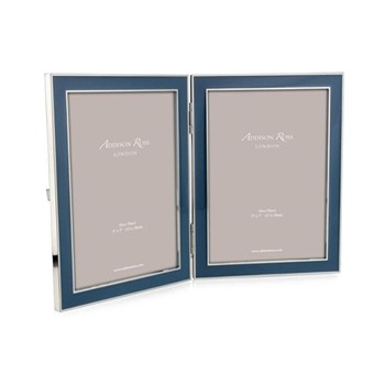 "Enamel Range Double photograph frame, 5 x 7"" with 15mm border, denim with silver plate"