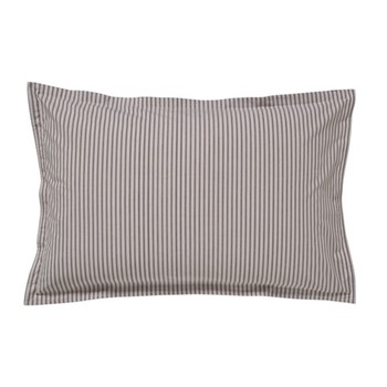 Ticking Stripe Oxford pillowcase, L48 x W74cm, charcoal and linen