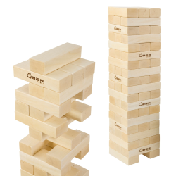 Giant tumble tower, 90cm builds to over 150cm, hardwood blocks in canvas bag
